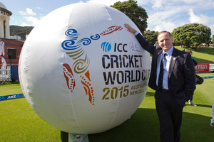 Prime Minister John Key with a giant cricket ball promoting the the ICC Cricket World Cup 2015 at the Basin Reserve in Wellington. File photo / Mark Mitchell
