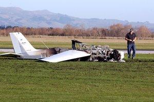 Plane crash lands soon after takeoff at Hood Aerodrome, Masterton. Photo / Lynda Feringa