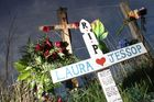 Crosses and flowers on the Masterton Castlepoint Rd that were placed in memory of Masterton road crash victim Laura Jessop.