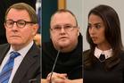John Banks, left, Kim Dotcom and Mona Dotcom. Photos / Brett Phibbs