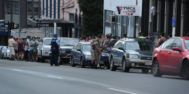 Police attend a large party on Stafford Street. Photo / Otago Daily Times