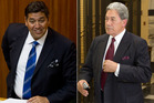 Winston Peters (right) and rival MP Brendan Horan. Photo / Mark Mitchell