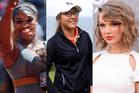Serena Williams (l), Lydia Ko (C) and Taylor Swift (R). Photo / AP.