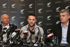 New Zealand Cricket Chief Executive David White, Black Caps captain Brendon McCullum and New Zealand Cricket Players' Association Chief Executive Heath Mills. Photo / Getty Images