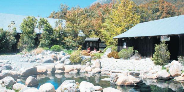 A rock pool ar Maruia Springs Thermal Resort in the Lewis Pass between Christchurch and Westport.