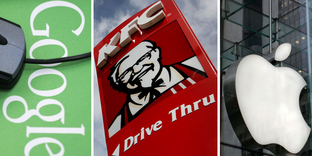 Three of the top 100 global brands - Google, KFC and Apple. Photo / AP, NZ Herald