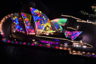 The Sydney Opera House is lit up during the opening night of Sydney's Vivid Festival. Photo: James Morgan/Vivid