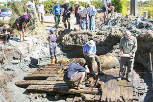 The section of a ship excavated at Cape Foulwind last March. Photo / Charles Bruning
