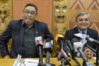 Mana Party leader Hone Harawira, left, and Internet Party chief executive Vikram Kumar announce their deal to form the Internet Mana Party at a press conference at Parliament. Photo / Mark Mitchell