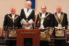 FREEMASON'S ANCIENT RITUAL: At the 124th installation of a Worshipful Master of Dannevirke's Rawhiti Lodge No. 66 on Tuesday night, (from left) Graeme Evans, district grand master, Paddy Driver the new master of the Rawhiti Lodge, John Peryer, the right worshipful divisional grand master and John Henricksen, district grand director of ceremonies. PHOTO/CHRISTINE MCKAY DAN16989