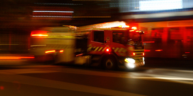Fire truck on Albert Street. Monday 2 April 2007. The Aucklander photograph by Bradley Ambrose