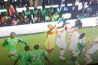 This bizarre error by Nigerian goalkeeper Austin Ejide has gone viral on websites around the world. Photo / YouTube.