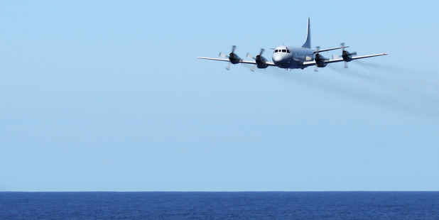 A Royal Australian Air Force AP-3C Orion from 92 Wing, in search of the missing Malaysia Airlines flight MH370. Photo / AP