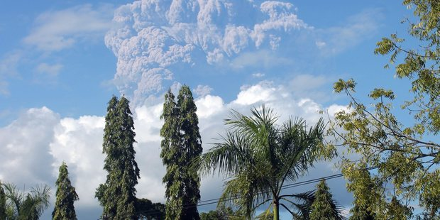 The volcano has been erupting continuously since Friday. Photo / EPA