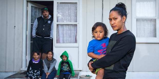Casey Tamati and Amy Kahui with Tatiana, 6, Shontae, 11, Gabriel, 4, and Teariki, 2. Photo / Greg Bowker