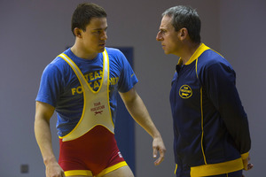 Steve Carell, right, and Channing Tatum in a scene from 'Foxcatcher'. Photo / AP