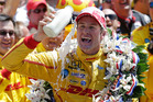 Ryan Hunter-Reay celebrates winning the Indianapolis 500 IndyCar auto race at the Indianapolis Motor Speedway. Photo / AP