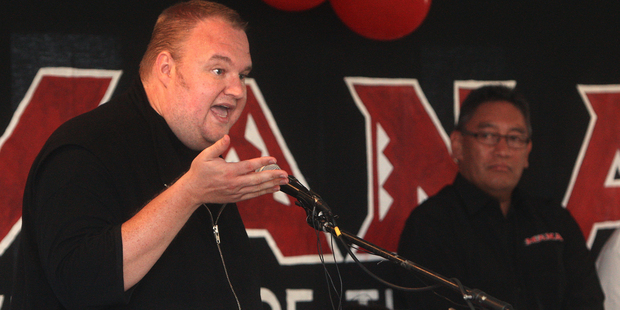 Kim Dotcom talks to the Mana Party. Photo/File