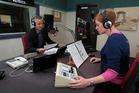 Guyon Espiner and Susie Ferguson at the Morning Report studio, Radio NZ. - Photo Diego Opatowski