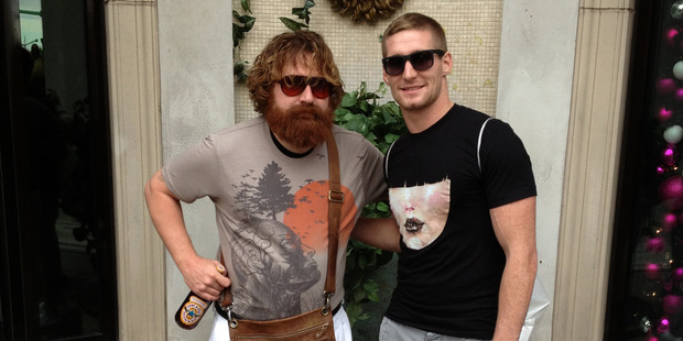 Sam Tomkins, pictured with a Las Vegas local, rates the casino town as his favourite place to visit.