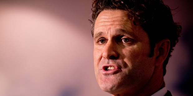 Chris Cairns held a press conference at Auckland Airport yesterday. Photo / Dean Purcell