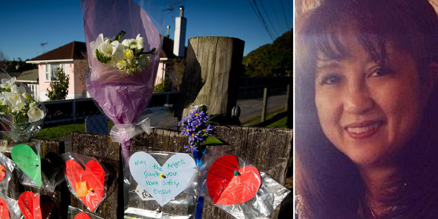 Flowers are placed at the entrance to Inwards Reserve on Salisbury Street for Blessie Gotingco. Photo / NZ Herald