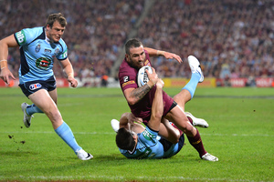 Darius Boyd of the Maroons scores a try during game one of the State of Origin. Photo / Getty Images