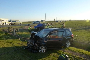 One of the cars involved in the triple fatal. Photo / Westpac Rescue Christchurch