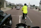 A motorcyclist posted footage of him hitting a cyclist to YouTube. Photo / YouTube