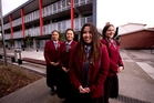 McAuley High School student leaders, from left, Hinemoa Finau, 17, Selena Tugaga, 17, Hazel Celeste, 18, and Lidia Araboo, 17. The school has recorded high marks in NCEA results. Photo / Dean Purcell