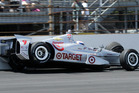 Scott Dixon hits the wall in the fourth turn during the 98th running of the Indianapolis 500. Photo / AP