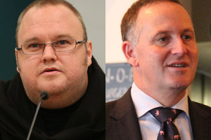 "Prime Minister John Key (left) says Kim Dotcom is ""trying to buy a political party"". File photo / NZ Herald"