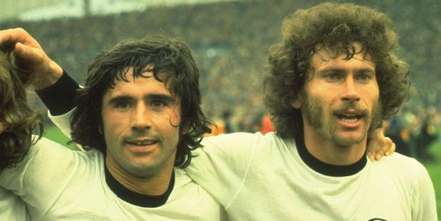 Gerd Muller, left, Der Bomber of the 1970 and 1974 finals. Photo - Allsport UK /Allsport