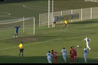 Nenad Mirosavljevic lines up his penalty attempt. Photo / YouTube