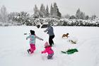A snow fight breaks out in Queenstown. Photo / Ben De Haan