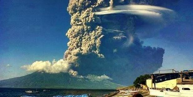 Sangeang Api, a volcano off the northeast coast of Sumbawa, erupted Friday evening. Photo / Twitter / @EarthQuakeTime