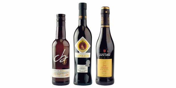 Alvear Fino CB Montilla-Moriles; Bodegas Hidalgo Amontillado Napoleon; Lustau Dry Oloroso Don Nuno.