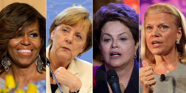 Michelle Obama, Angela Merkel, Dilma Rousseff and Virginia Rometty all make Forbes' top 10 list. Photos / AP, Getty