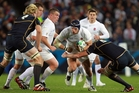 James Haskell charges forward during England's clash with Scotland in World Cup 2011 at Eden Park. Photo / APN