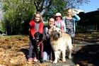 The Andrew family took their pets on the Hairy Maclary and Friends Fundraising Dog Walk yesterday. (From left) Riley, 8, with Trix, mum Hayley with Sam, friend Trelise Chote and Hollie, 5.Photo/George Novak
