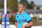 Stuart Lancaster, the England head coach looks on during the England training session held at Takapuna Rugby Club. Photo / Getty Images