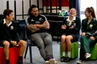 Ma'a Nonu with Dale Pitout, Grace Kukutai and Pam Chia at Lynfield College yesterday. Photo / Dean Purcell