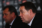 Head coach Steve Hansen of the All Blacks talks to the media during the New Zealand All Blacks squad announcement. Photo / Getty Images