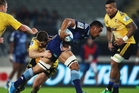 Recalled All Black loose forward Jerome Kaino made every post a winner in his bustling display for the Blues against the Hurricanes at Eden Park. Photo / Getty Images