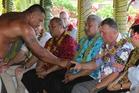 Shane Jones gets a taste of kava in Samoa. Photo / Claire Trevett
