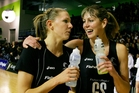 Irene van Dyk (right), seen here with teammate Casey Williams, has been an important part of the Silver Ferns for 15 years. Photo / NZPA