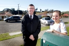 Stephen Lewis, Hunterville principal, and Meg Marshall, a former pupil, are pleased speed warnings will go up outside the school. Photo/Bevan Conley
