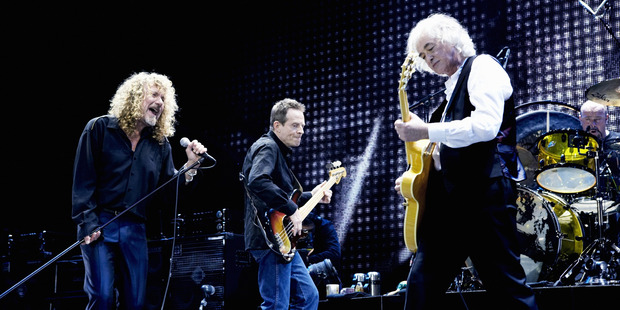 Led Zeppelin's Robert Plant, John Paul Jones, Jimmy Page and Jason Bonham performing at their 2007 reunion concert.