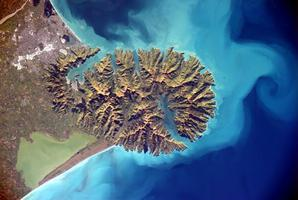 Banks Peninsula seen from the International Space Station. Photo / Twitter.com/astro_alex