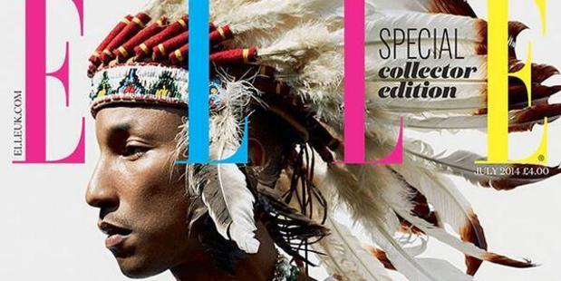 Pharrell Williams on the cover of UK ELLE magazine.